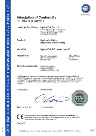 TUV Certificate Of AC Power Pack T
