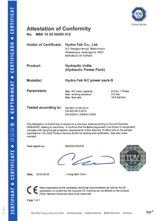 TUV Certificate Of AC Power Pack S