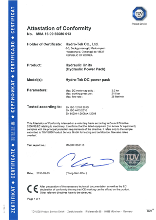 TUV Certificate Of DC Power Pack